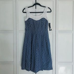 Nine West 100% cotton polka dot eyelet top dress